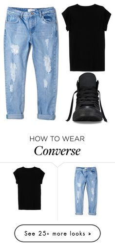 """""""OOTD (26/09/15)"""" by dress-well-or-die-trying on Polyvore featuring Isabel Marant, MANGO, Converse, black, converse, boyfriendjeans, rippedjeans and blacktee"""