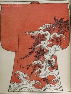 Japanese Woodblock Print of Kimono with Wave and Wisteria Design ...