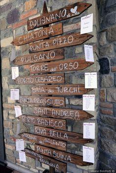 Idee per il tableau di nozze in legno e nomi di città. Per un matrimonio in stile rustico