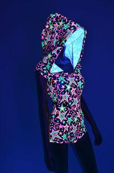 Neon Stars Print UV Glow Bodysuit Romper Hoodie with Boy Cut Leg UV Rave…