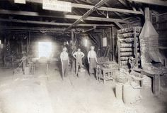 This photo shows the interior of Alex Henderson's blacksmith shop at 121 South Spadra Road.