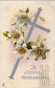 Vintage postcard, a Joyful Eastertide, cross, flowers, c.1907.