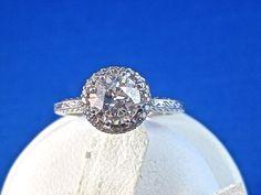 Sophisticated Downton Abbey VS1 1.03 Carat Diamond Art Deco Halo Engagement Ring