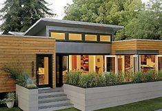 "Contemporary Modular Home Designs, Putting the ""Fab"" in Prefab . Modular Home Designs, Modern Modular Homes, Small Modern Home, Contemporary Homes, Small Prefab Cabins, Prefabricated Houses, Design Exterior, Modern Exterior, Interior Design"