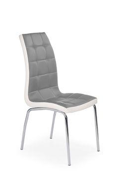 chaise de salle a manger design en pu gris blanc lot de 4 amethys