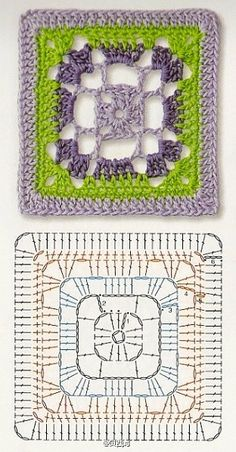 Granny_Square Crochet Mandala Pattern, Granny Square Crochet Pattern, Crochet Cross, Crochet Diagram, Crochet Stitches Patterns, Crochet Art, Crochet Squares, Crochet Granny, Crochet Dolls