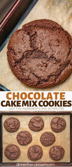 Cake Mix Cookies made with just 5 ingredients in one bowl are ultra rich, chocolatey, and bakery soft EASY cookies in under 20 minutes! desserts with cake mix Rich Chocolate Cake Mix Cookies (SO EASY!) - Dinner, then Dessert Mini Desserts, Cookie Desserts, Easy Desserts, Dessert Recipes, Cookie Bakery, 4th Of July Desserts, Recipes Dinner, Chocolate Cake Mix Cookies, Chocolate Desserts
