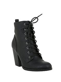 Black Lace-Up Heel Bootie, , hi-res