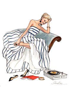 Nada melhor do que tirar os saltos depois daquela festa e botar uma música calma para rodar :) (Ilustração de Shannon Ables baseada em vestido de Oscar de la Renta) #fashion #sketches