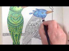 Dagdrömmar/daydreams - coloring a blue bird - part 1 - realtime coloring - YouTube