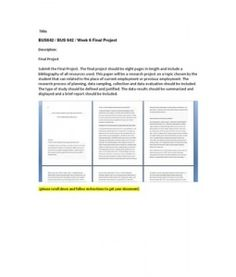 Final Project  Submit the Final Project. The final project should be eight pages in length and include a bibliography of all resources used. This paper will be a research project on a topic chosen by the… (More)