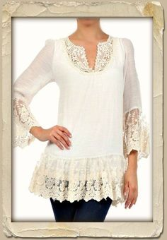 Paris Rags - beautiful lace detailing, just love this, wouldn't be hard to make Sewing Clothes, Diy Clothes, Clothes For Women, Blouse Au Crochet, Diy Fashion, Fashion Outfits, Romantic Outfit, Altered Couture, Altering Clothes
