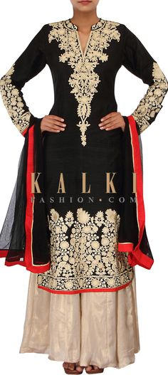 Buy Online from the link below. We ship worldwide (Free Shipping over US$100) http://www.kalkifashion.com/straight-fit-suit-in-black-adorn-in-thread-and-aari-embroidery-only-on-kalki.html