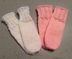 "Toe Up tube sock for large preemie or tiny newborn 16-18""."