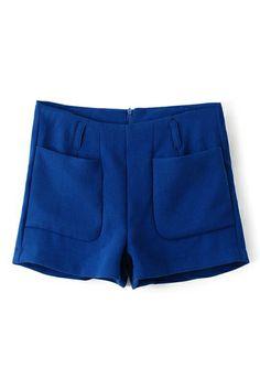 ROMWE | ROMWE Pocketed Zippered Blue Shorts, The Latest Street Fashion
