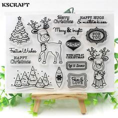 KSCRAFT Christmas Deer Transparent Clear Silicone Stamp/Seal for DIY scrapbooking/photo album Decorative clear stamp sheets #Affiliate
