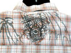 Harley Davidson Mens Shirt XL Plaid Short Sleeves 100% Cotton Skulls on Back #HarleyDavidson #ButtonFront