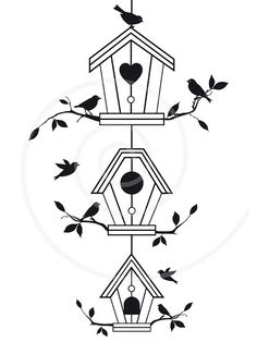 Cute Bird Houses With Tree Branches, Birdhouse, Pet House, Digital Clip Art…