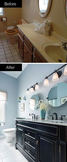 Take your bathroom from dull and drab to bold and beautiful. A striking vanity…