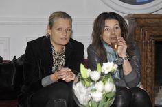 Magda Soszyńska – szef działu moda w Harper's Bazaar oraz  Agnieszka Rafałowska - stylistka Harper's Bazaar na konferencji Aryton,  zdjęcie: AKPA