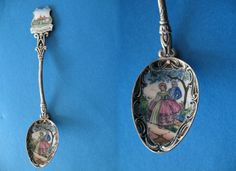 This vintage enamel souvenir spoon is from Mount Vernon Virginia The bowl of the spoon has a picture of an old fashioned colonial dressed couple in it Approximate length is