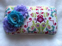 Floral Purple Pink Aqua Blue Baby Wipe Case Baby by MadeForMaddie, $8.00