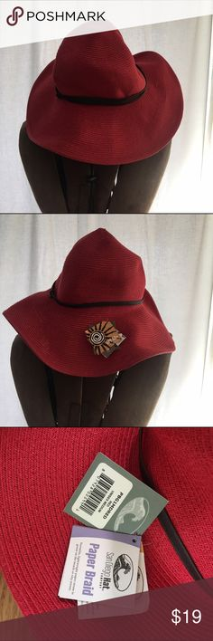 NWT San Diego hat co. red floppy sunhat Brand new with tags! Red straw with brown leather details. Adjustable brim. Never been worn, never been tried on. San Diego Hat Company Accessories Hats