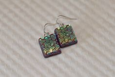 Handmade Dangle Red/Gold/Aqua Dichroic Art Glass Earrings  | GrapevineGlassArt - Jewelry on ArtFire
