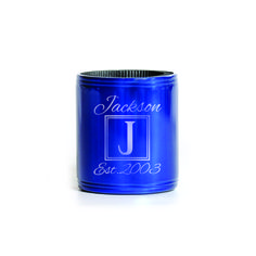 Metal Koozie - Personalized name with Monogram and Date