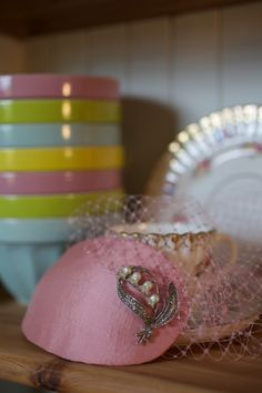 Our wedding: my hand made pink silk teardrop birdcage veil with vintage marcasite and pearl  Lily of the Valley brooch