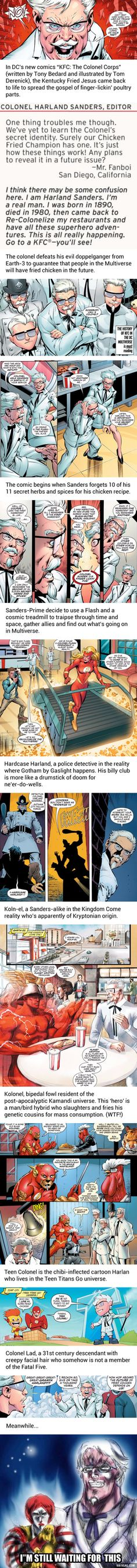 DC's New KFC Comic Turns Colonel Sanders Into Fried Chicken Jesus Comic Book Publishers, Comic Books, Colonel Sanders, Time Warner, American Comics, Kfc, Dc Universe, Fried Chicken, Best Funny Pictures