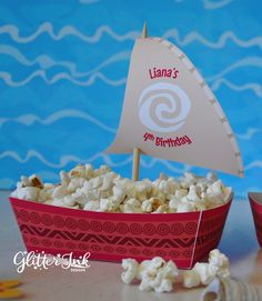 Moana Polynesian boat food snack trays and sail toppers for