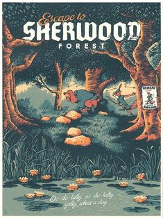 Travel to the Wonderful Worlds of Disney With These Beautiful Posters Disney Travel Posters Sherwood Forest from Disney's Robin Hood by Designer and Illustrator Adam Johnson Posters Disney Vintage, Vintage Disney Art, Art Disney, Film Disney, Disney Magic, Vintage Art, Robin Hoods, Robin Hood 1973, Disney Dream