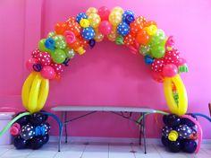 Lalaloopsy balloon arch Www.facebook.com/yolanda.balloominart