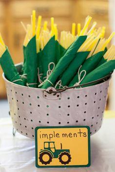 John Deere Tractor Birthday Party - Yellow utensils inside green napkins!