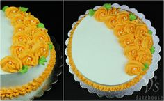 Rich dark chocolate cake filled with freshcream and frosted with electric orange rosettes