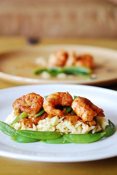 Spicy curry shrimp pasta: curried tomato sauce, snap peas, orzo rice / Julia's Album