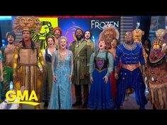 """Caissie Levy, Michael James Scott, and more sang """"Circle of Life,"""" """"Friend Like Me,"""" and """"Let It Go"""" live on Good Morning America. Robin Roberts, James Scott, Michael Strahan, Theatre Stage, Princess Anna, Good Morning America, Movie Songs, Circle Of Life, Aladdin"""