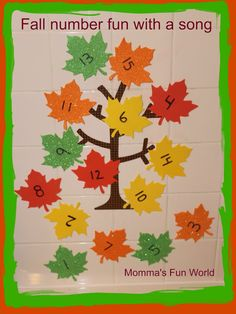 Fall leaf number learning tree with a fun song. Great for teaching and reconizing numbers with kids.