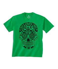 Look at this Kelly Green Sugar Skull Tee - Toddler & Kids on #zulily today!