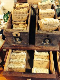 Home Brewed Soap display with antique drawers from Freeport Emporium.