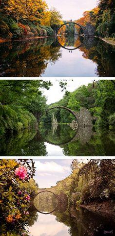 Kromlauer Park in Germany is the Rakotzbrücke, or Devil's Bridge