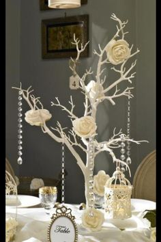 Ivory tree with pearl and diamond hangings