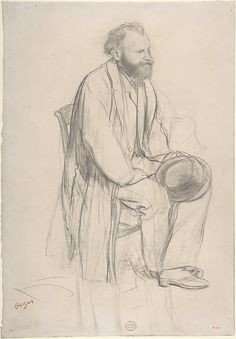 Édouard Manet, Seated, Holding His Hat  Edgar Degas  (French, Paris 1834–1917 Paris)  Sitter: portrait of Édouard Manet (French, Paris 1832–1883 Paris) Date: ca. 1865 Medium: Graphite and black chalk on wove (China) paper This drawing and another by Degas (MMA 19.51.6), both purchased at the sale of the contents of Degas's studio in 1918, are preparatory studies for an etched portrait of Manet made about 1866–68, a few years after the two painters first met in the Louvre.