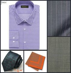 SHIRT/TIE COMBO: Peenkla(Shirt)-Combatant Gentlemen(Tie)-Hermes(Pocket Square)-Suggested Suit Colors(Gray w/Purple Pinstripes & Green w/Purple Pinstripes)-Suit Colors On Right Side.