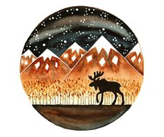 Original Watercolor painting Moose Elk Alaska by bluepalette