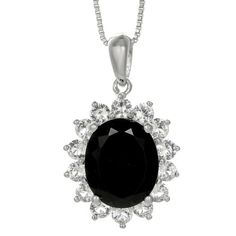 Oval Genuine Black Onyx and Lab-Created White Sapphire Pendant... ($167) ❤ liked on Polyvore featuring jewelry, necklaces, pendants & necklaces, oval necklace, long pendant, long necklace pendant and long necklace