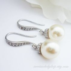 Wedding Jewelry Bridesmaid Gift Bridal Jewelry Pearl Earrings White OR Cream Swarovski Round Pearl Drop Earrings Cubic Zirconia Earrings