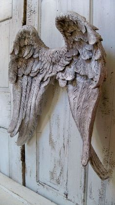 Large wings wall sculpture gray white detailed by AnitaSperoDesign