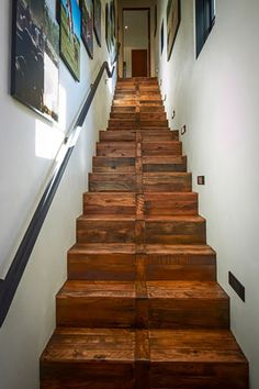 Custom wood steps finished with wood made from shipping pallets, Schenck and Company floor-articles